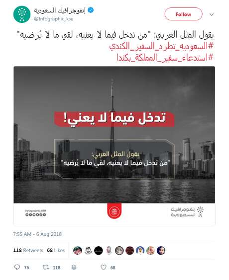 """Now deleted, here a screenshot of the threatening Saudi """"infographic"""" featuring an airliner headed for the Toronto skyline.pic.twitter.com/LrkCLxxjFk Photo: Twitter"""