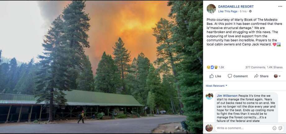 The Dardanelle Resort Facebook page featured an image by Modesto Bee photographer Marty Bicek of the resort set against wildfire flames. Many in the comments mourned the major damage to the resort. Photo: Facebook Screen Shot / Dardanelle Resort