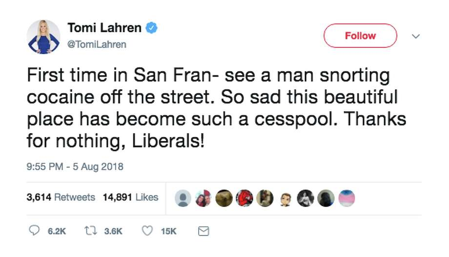 Twitter users reacted when Tomi Lahren claimed she saw someone snort cocaine off the street in San Francisco. Photo: Screenshot Via Twitter