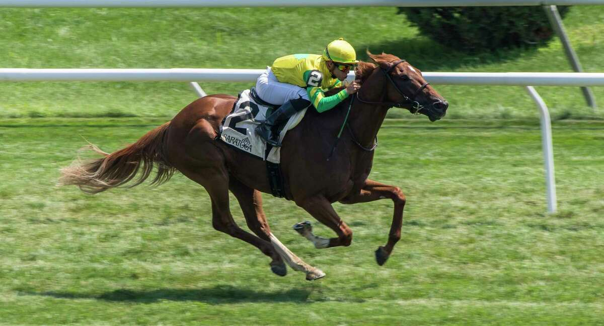 """Therapist ridden Irad Ortiz Jr. wins the 16th running of The New York Stallion Series """"Cab Calloway Division"""" Monday Aug. 6, 2018 at the Saratoga Race Course in Saratoga Springs, N.Y. (Skip Dickstein/Times Union)"""
