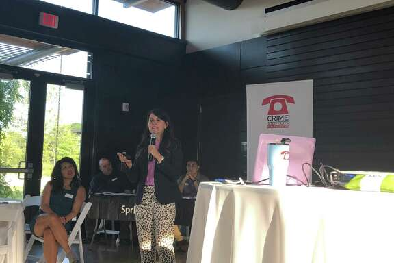 Evelyn's Park and Crime Stoppers of Houston hosted their second event of the Safety Series at the Park on July 26. Michelle Sacks, Crime Stoppers Safe Schools Institute director, educated parents about how to keep their students safe online.