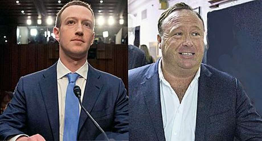 Facebook CEO Mark Zuckerberg, conspiracy extremist Alex Jones Photo: / The Associated Press