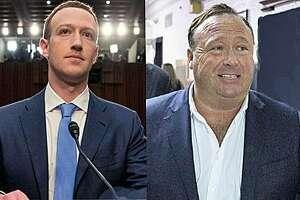 Facebook CEO Mark Zuckerberg, conspiracy extremist Alex Jones