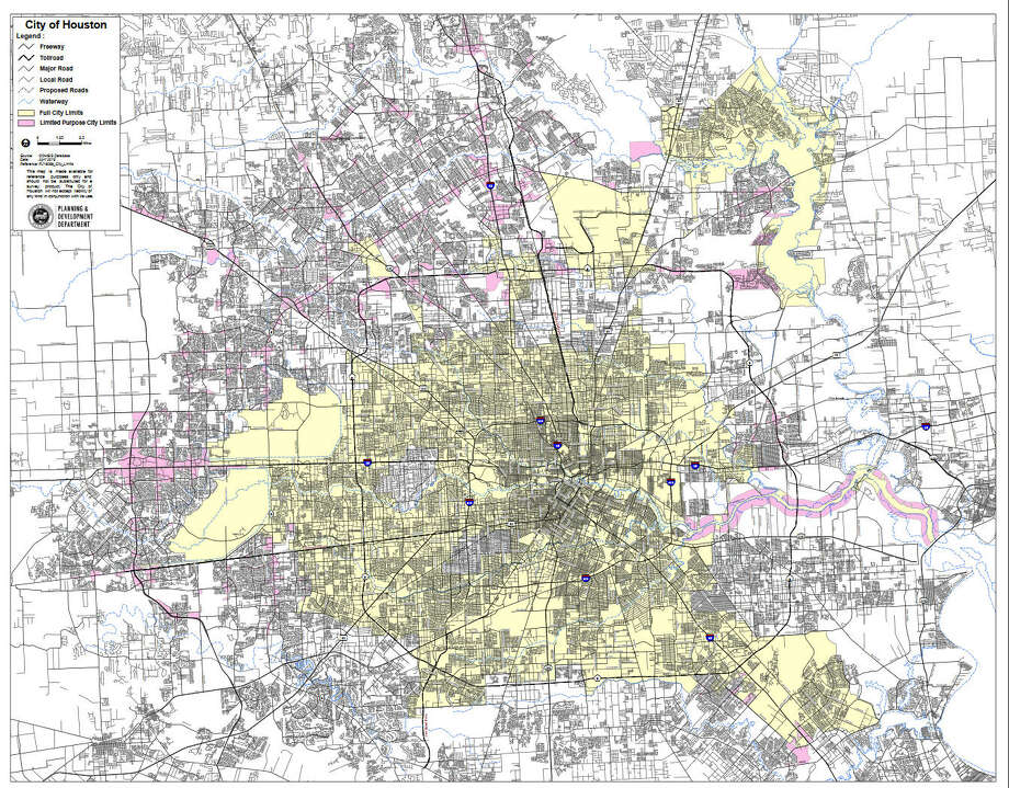 Houston proper is seen yellow. Everything else is disputed colloquially. Photo: Houstontx.gov