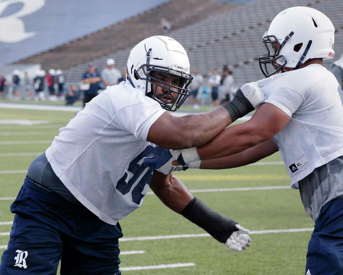 Rice University defensive tackle Zach Abercrumbia (96) during a football practice at Rice Stadium Friday July 27, 2018 in Houston, TX. Michael Wyke/Contributor