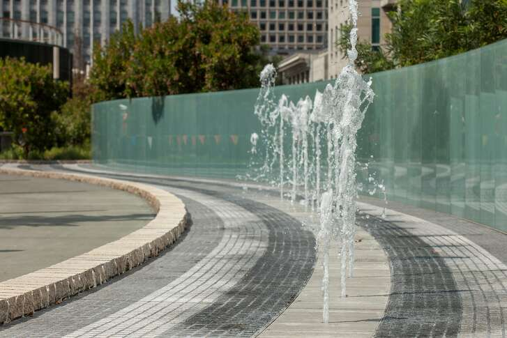 Artist Ned Kahn's Bus Jet Fountain installation at the new Transbay Terminal, Friday 03 August 2018 in San Francisco, CA. The Bus Jet Fountain is 1,000 feet long art installation on the garden level that is activated as buses move below in the terminal.