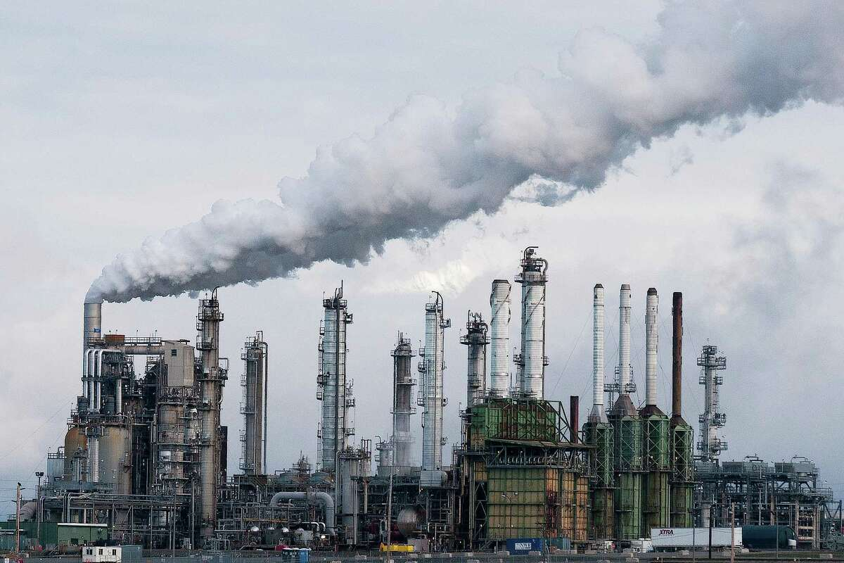 A refinery in Anacortes, Washington. Texas-based oil refiners have pumped in more than $18 million into a fight against Initiative 1631, which would impose a $15 per ton carbon fee on major carbon polluters in the state of Washington. if passed in November it would be the first of its kind in the U.S.