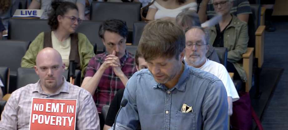 Ben Gibbard, lead singer of Death Cab for Cutie, stopped by the Seattle City Council meeting on Monday, August 6, 2018, to show his support for saving the Showbox by the Market. Photo: Screenshot