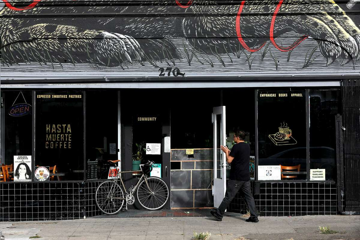 Hasta Muerte Coffee, located at 2701 Fruitvale Ave. in Oakland, Cali., is photographed on Saturday, July 21, 2018. The coffee shop in Fruitvale's neighborhood recently purchased the building it operates. The cafe is worker-owned and over the last few months the group raised more than $50,000 in community donations that was put toward owning the location.