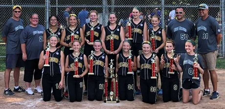 The New Milford Chaos 12-and-under softball team won the Fairfield County Fast Pitch Softball League championship tournament with a 3-1 victory over Ridgefield in the championship game on July 29, 2018. Photo: Contributed Photo