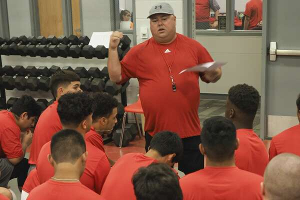 Stanton head coach Jerry Burkhart talks with his players 08/06/18 about team rules and what he and his coaching staff expect from the players this season. Tim Fischer/Reporter-Telegram