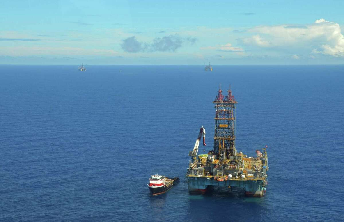 Deepwater drilling platforms in the Gulf of Mexico.
