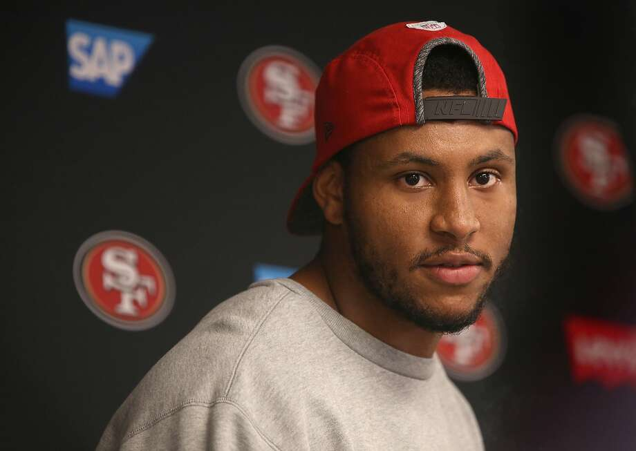49ers linebacker Malcolm Smith at Levi stadium during a press conference on Thursday, July 27, 2017, in Santa Clara, Calif. Photo: Liz Hafalia / The Chronicle