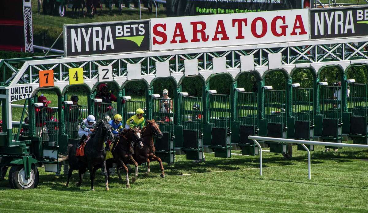 """This is not a illusion. This is a three horse field for a $100,000 Stake Monday Aug. 6, 2018 at the Saratoga Race Course in Saratoga Springs, N.Y. There were 5 scratches in the 16th running of The New York Stallion Series """"Cab Calloway Division"""". (Skip Dickstein/Times Union)"""