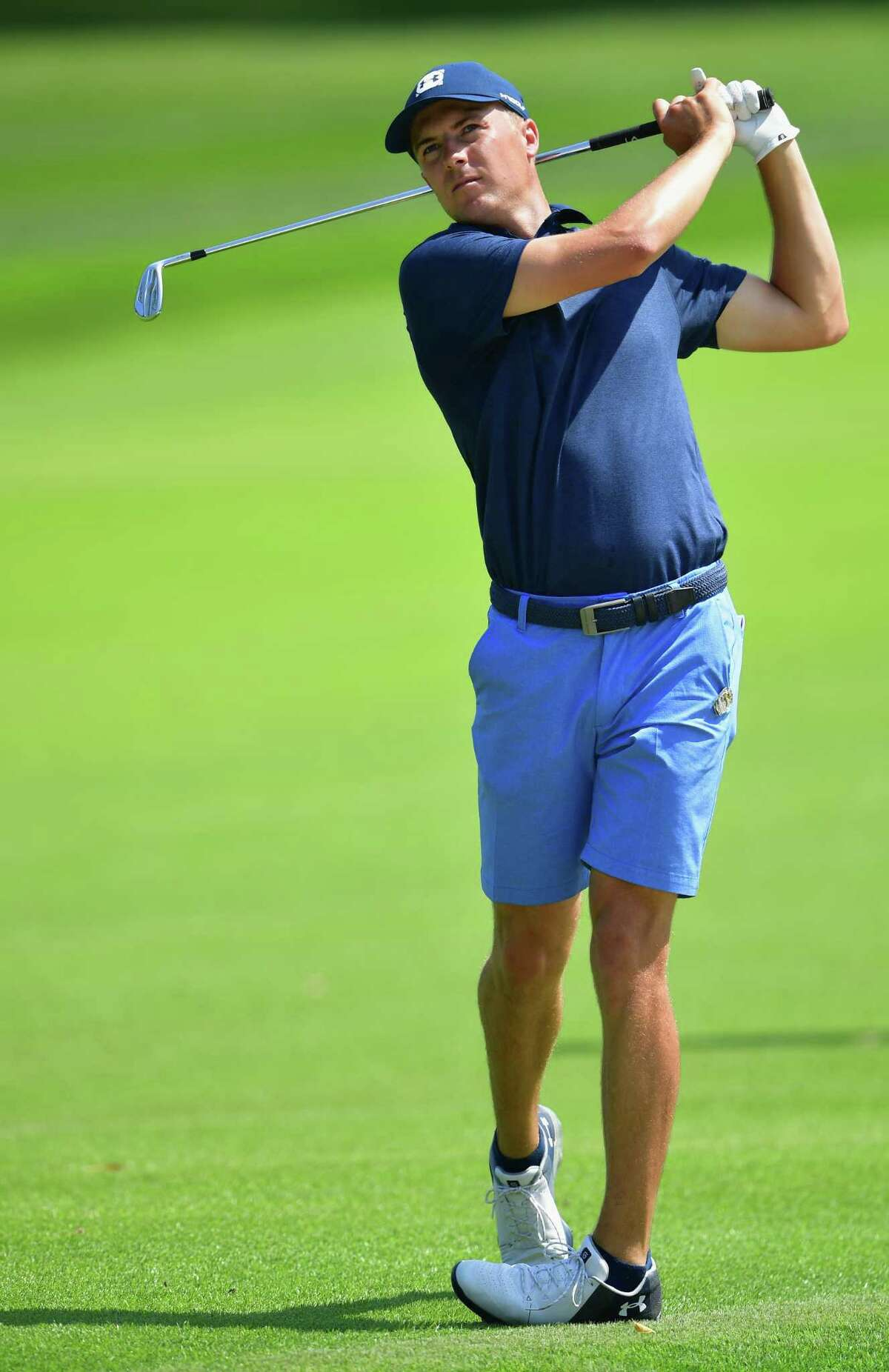 ST. LOUIS, MO - AUGUST 06: Jordan Spieth of the United States plays a shot during a practice round prior to the 2018 PGA Championship at Bellerive Country Club on August 6, 2018 in St. Louis, Missouri. (Photo by Stuart Franklin/Getty Images)