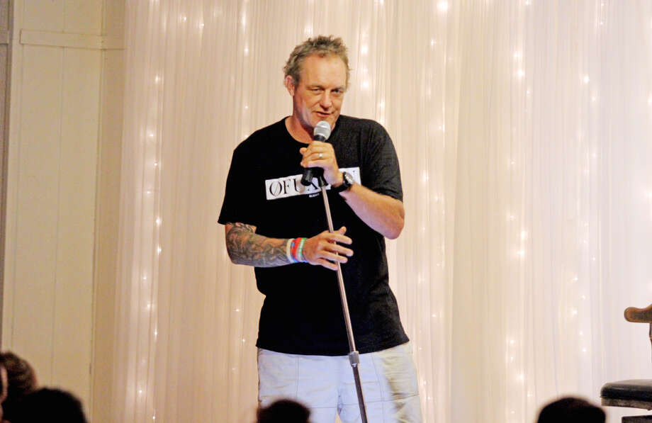 Former Red Wing Darren McCarty performs as part of the Slapstick Comedy Tour, Saturday, at Ubly Heights Golf & Country Club. McCarty entertained the crowd with comedy and stories of his time as a Red Wing. (Mike Gallagher/Huron Daily Tribune)