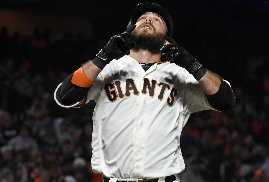 SAN FRANCISCO, CA - AUGUST 06:  Brandon Crawford #35 of the San Francisco Giants celebrates after hitting a solo home run against the Houston Astros in the bottom of the sixth inning at AT&T Park on August 6, 2018 in San Francisco, California.  (Photo by Thearon W. Henderson/Getty Images) Photo: Thearon W. Henderson / Getty Images