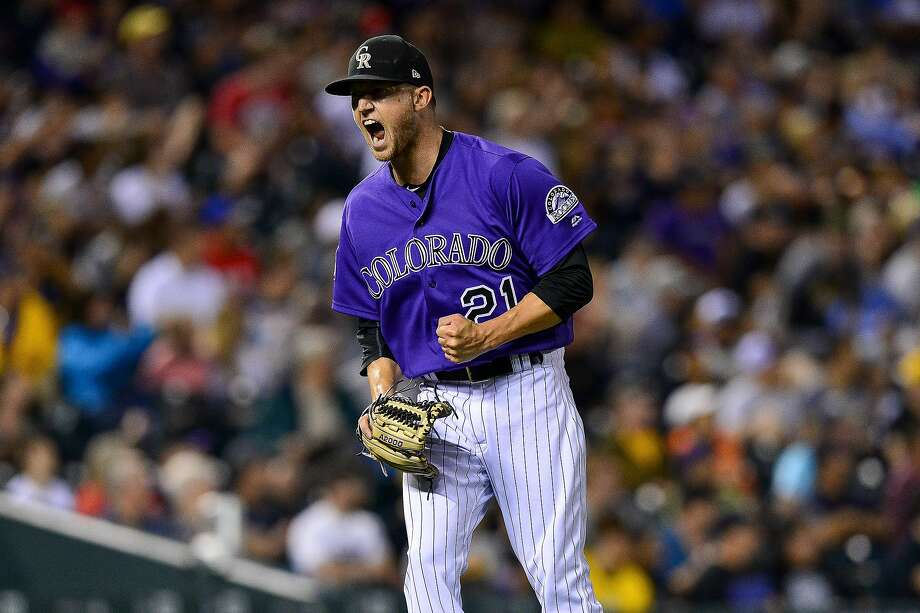 Kyle Freeland celebrates after the third out of the seventh inning, the last inning of his strong start. Photo: Dustin Bradford / Getty Images