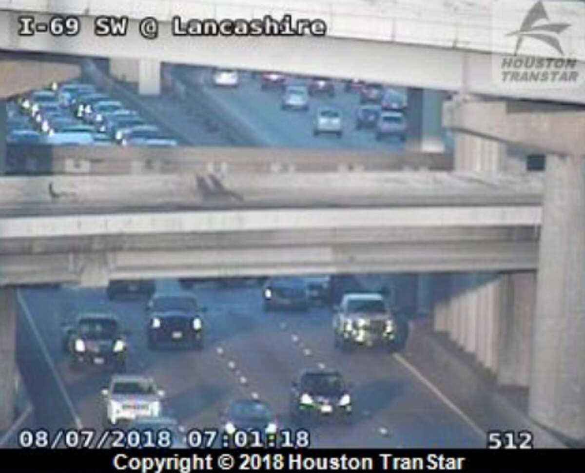 Two crashes on the Southwest Freeway northbound bring traffic to a crawl near the West Loop on Tuesday, Aug. 7, 2018.