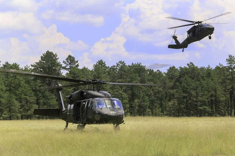 Sikorsky Black Hawk helicopters from the U.S. Army National Guard 1st Assault Helicopter Battalion during July 2018 training in Lakehurst, N.J. (U.S. Air National Guard photo by Master Sgt. Matt Hecht) Photo: Master Sgt. Matt Hecht / New Jersey National Guard / Public Domain