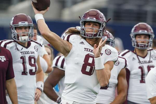 ARLINGTON, TX - SEPTEMBER 23: Texas A&M Aggies quarterback Connor Blumrick (#8) warms up during the college football game between the Arkansas Razorbacks and Texas A&M Aggies on September 23, 2017 at AT&T Stadium in Arlington, Texas. Texas A&M won the game 50-43 in overtime. (Photo by Matthew Visinsky/Icon Sportswire via Getty Images)