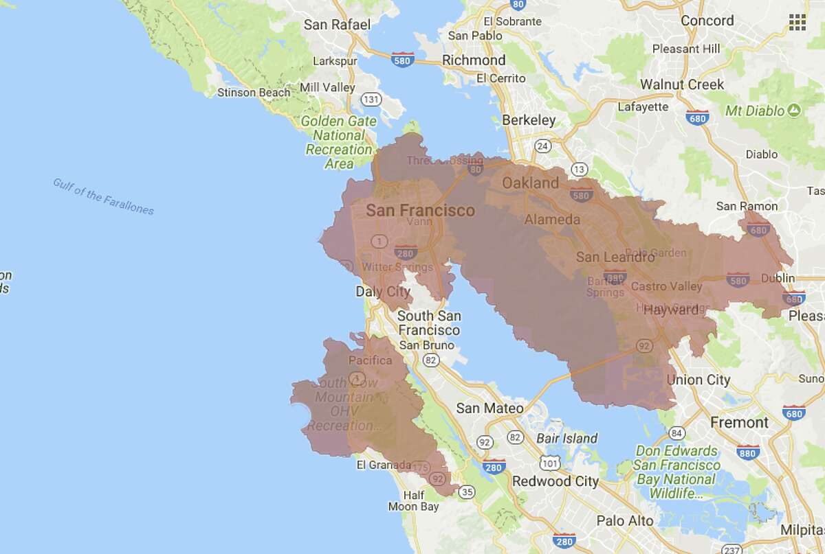 The Mendocino Complex Fire outer boundary as of August 7, 2018 laid over San Francisco and stretches to cover Oakland and a large part of the East Bay and Peninsula. The Ranch Fire near Ukiah and the River Fire north of Hopland make up what many are calling the Mendocino Complex Fires. Together they have charred 443 square miles and are now the largest wildfire ever in California.