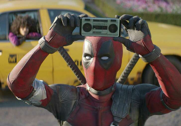 "Deadpool is back in red and black in ""Deadpool 2."""