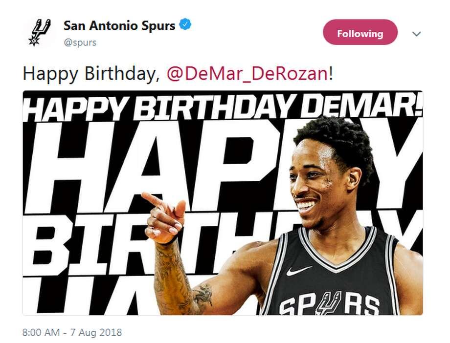 @spurs: Happy Birthday, @DeMar_DeRozan! Photo: Twitter Screengrabs
