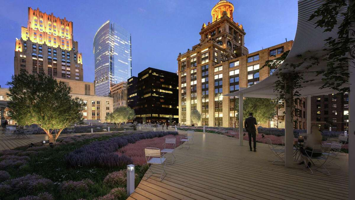The green roof at Capitol Tower, located 12 floors above the street level, will feature pathways lined with native, adaptive plants and grasses. It will be irrigated by Capitol Tower?'s 50,000 gallon rainwater harvest cistern.