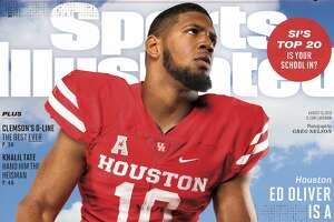 University of Houston All-American defensive tackle Ed Oliver is featured on the cover of one of Sports Illustrated's college football preview issues that hit stores Wednesday.
