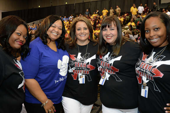 From left, Jones-Clark Elementary's Andrea Williams, Shara Carr, Alisha Owens, Jennifer Lindsey and Chavonne Williams at the BISD teacher convocation at the Beaumont Civic Center on Tuesday.  Photo taken Tuesday, 8/7/18