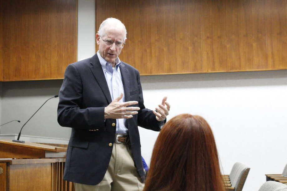 Rep. Mike Conaway talks with constituents 8/6/2018 at Odessa City Hall before a town hall meeting.