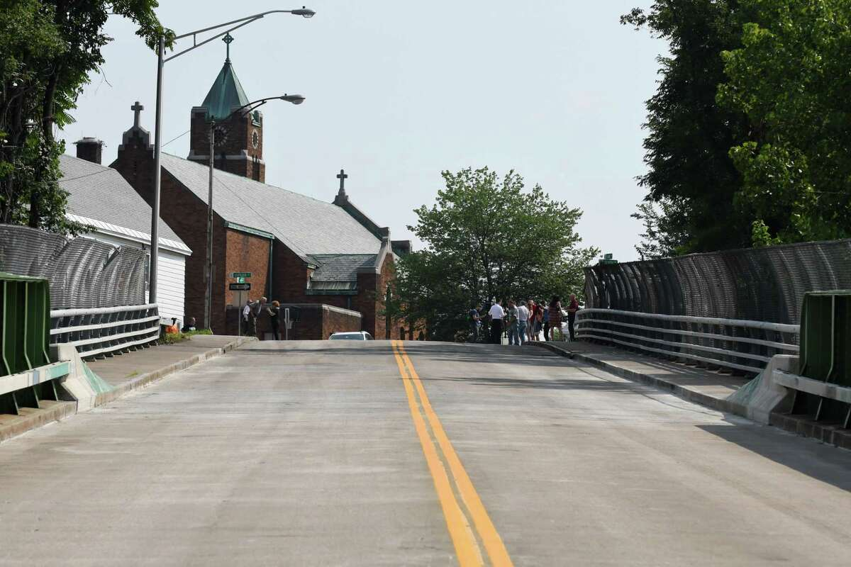 The Oak Street Bridge is open following a $1.75 million repair project on Tuesday, Aug. 7, 2018, in Schenectady, N.Y. The bridge, which connects the Mont Pleasant and Bellevue neighborhoods of Schenectady, was closed to traffic for five years. (Will Waldron/Times Union)