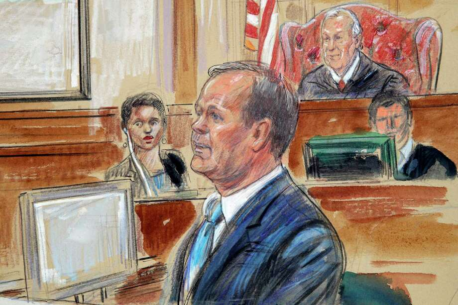 This courtroom sketch depicts Rick Gates, right, testifying during questioning in the bank fraud and tax evasion trial of Paul Manafort at federal court in Alexandria, Va., Tuesday, Aug. 7, 2018. U.S. district Judge T.S. Ellis III presides at top right. (Dana Verkouteren via AP) Photo: Dana Verkouteren, AP / Dana Verkouteren