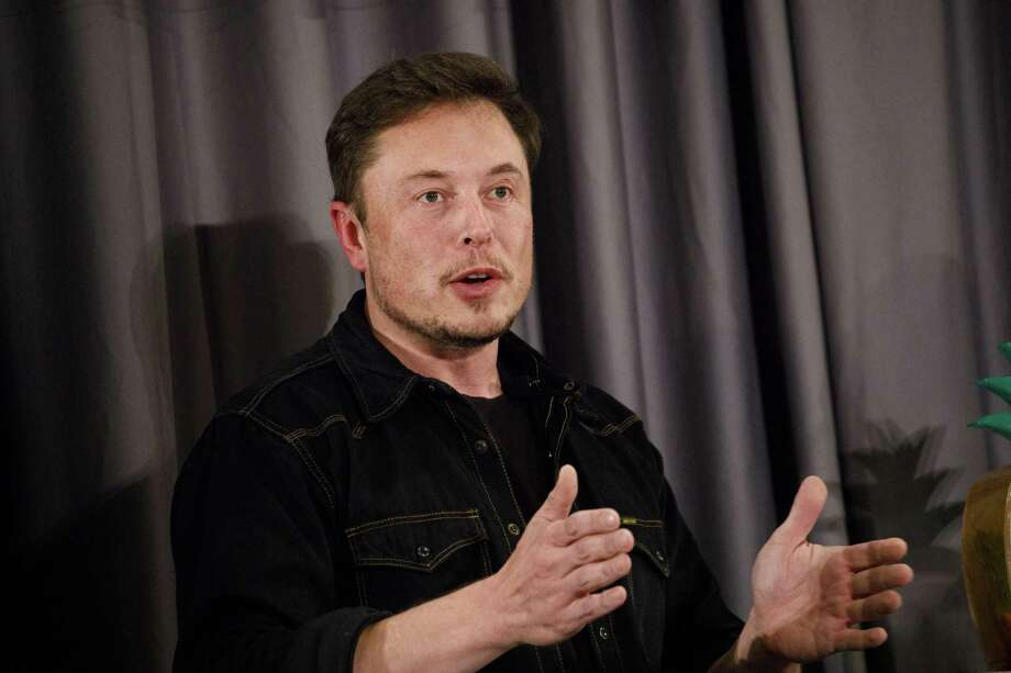 Tesla chief Elon Musk speaks during a Boring Co. event in Los Angeles, California. Photo: Bloomberg Photo By Patrick T. Fallon. / Bloomberg