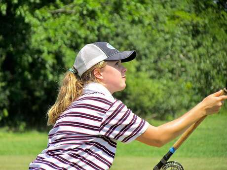 World-champion flycaster Maxine McCormick, 14, lets loose at the national championships in Indiana, and qualified to compete at the world championships in England. Photo: Tom Stienstra, Gail Phillips / Special To The Chronicle