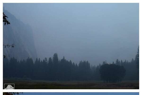 Yosemite Top: Yosemite blanketed i wildfire smoke on Aug. 7, 2018 Bottom: Yosemite on a clear day