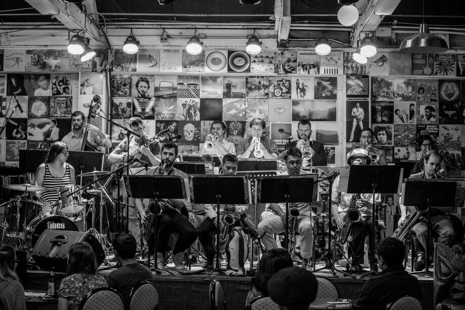 The 7th Street Big Band is full of hip-hop heads, drummer Gabby Horlick (left) says. Photo: Adam Brioza