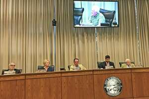 Middletown Common Gerald Daley speaks during Monday night's council meeting. From left are Councilors Robert Santangelo, Mary Bartolotta and Gene Nocera, Mayor Dan Drew and Corporate Counsel Daniel Ryan.