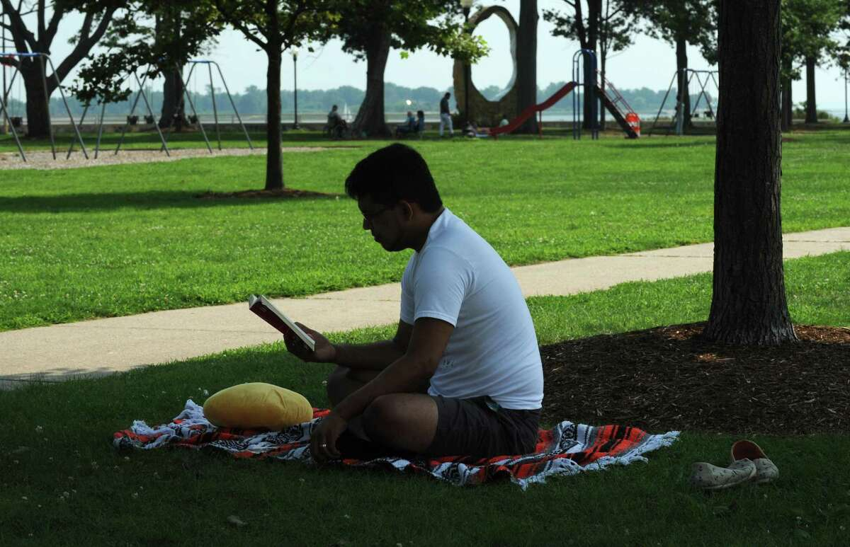 Carlos Lainez of Norwalk finds a shady spot to read his book as he beats the heat at Calf Pasture Beach Tuesday, August 7, 2018, in Norwalk, Conn.