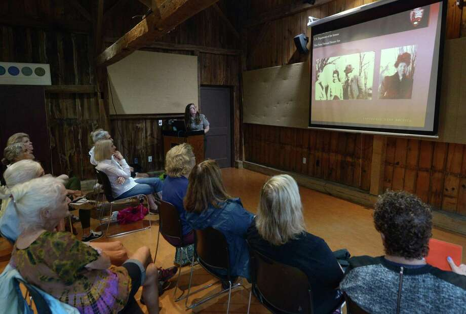 Park Ranger Emily Hance gives a special Ranger Talk, The Women of Weir, Saturday, August 4, 2018, at the Farm Weir Farm National Historic Site in Wilton, Conn. The one-hour program focused on the lives of the three generations of women that called Weir Farm home. Photo: Erik Trautmann / Hearst Connecticut Media / Norwalk Hour