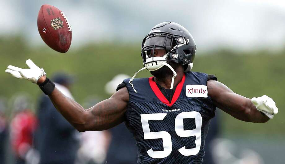 PHOTOS: The best photos from the Texans' 2018 training camp  Houston Texans linebacker Whitney Mercilus tips the ball in the air while running through a drill during training camp at the Greenbrier Sports Performance Center on Friday, Aug. 3, 2018, in White Sulphur Springs, W.Va. >>>See the best photos from the Texans' 2018 training camp in West Virginia ... Photo: Brett Coomer, Houston Chronicle / © 2018 Houston Chronicle
