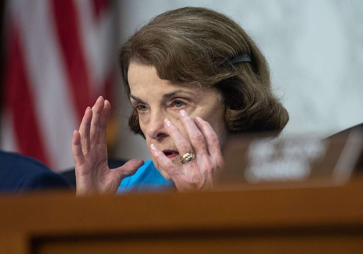 US Democratic Senator from California Dianne Feinstein speaks during a Senate Intelligence Committee confirmation hearing on Capitol Hill in Washington, DC, on July 25, 2018. Nominee for director of the National Counterterrorism Center, Joseph Maguire, and nominee for assistant Secretary of State for Intelligence and Research, Ellen McCarthy, are testifying before the committee. / AFP PHOTO / NICHOLAS KAMMNICHOLAS KAMM/AFP/Getty Images