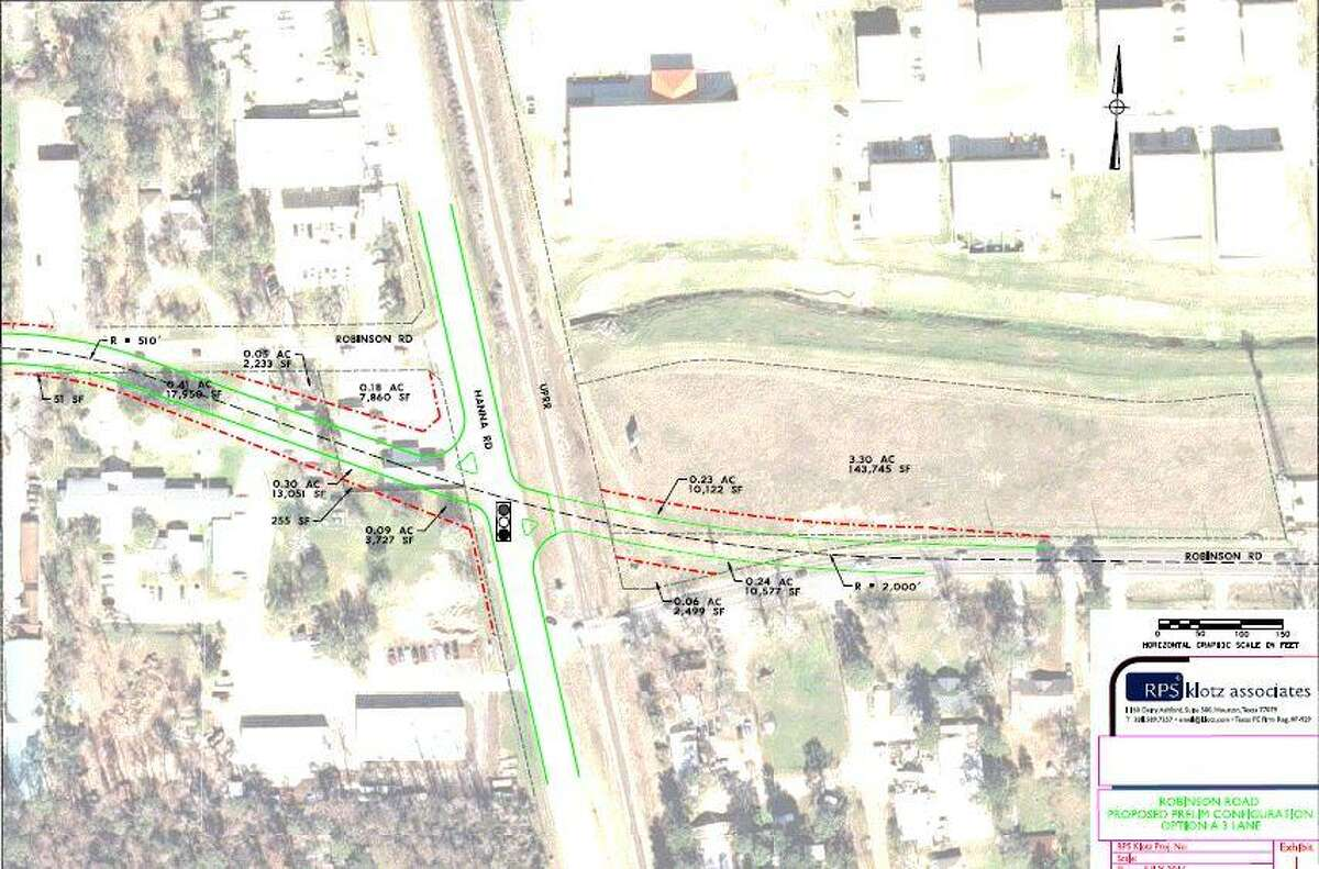 This conceptual drawing shows preliminary plans for the new widened, realigned Robinson Road and Hanna Road intersection in Oak Ridge North. According to city officials, the project - which has been ongoing for years - is entering into Phase 3 of the design process. There are no plans for any construction in the near future as the city seeks funding options for any potential construction.