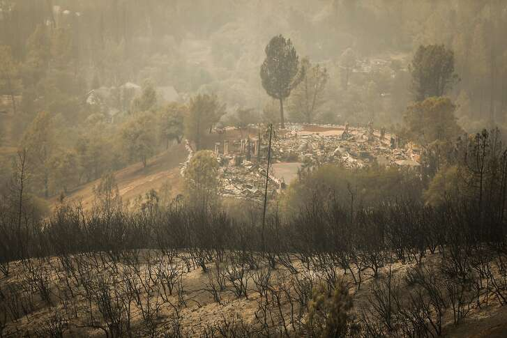The Mary Estates subdivision is seen damaged from above during the Carr Fire in Redding, California, on Saturday, July 28, 2018.
