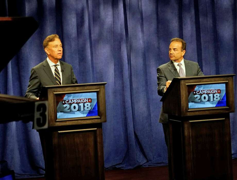 Democrats Ned Lamont and Joe Ganim went head to head Tuesday in a debate hosted by WFSB Channel 3 in Rocky Hill. Photo: Contributed Photo / WFSB