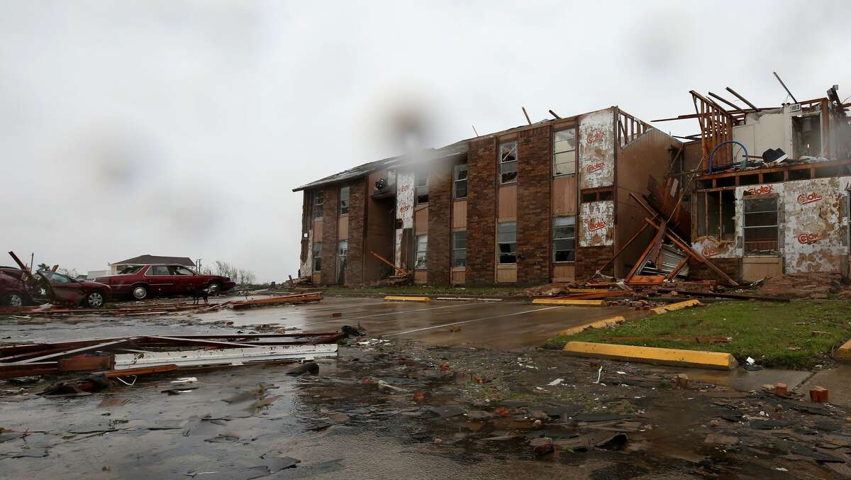 Salt Grass Landing Apartment complex after Hurricane Harvey Saturday, Aug. 26, 2017, in Rockport, Texas.