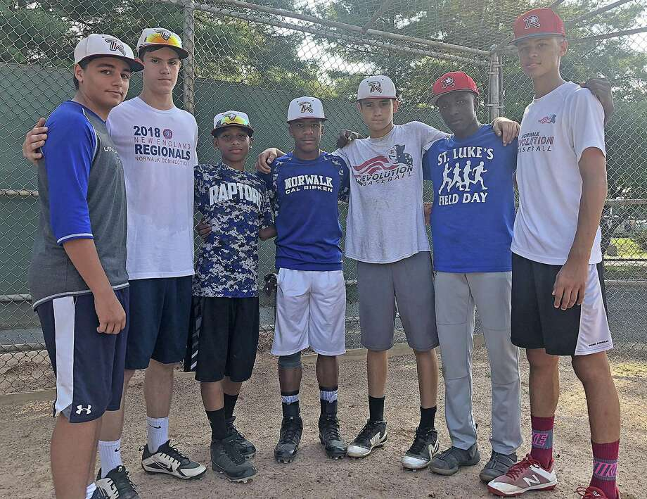 Seven members of the Norwalk Revolution Babe Ruth 14U All-Stars came out of the Cal Ripken ranks, including, from left, Cole Forcellina, Brendan Edvardsen, Jayden Gonzalez, Vance Ward, Ben Boccanfuso, Zion Profit and Jeremy Cooke. After falling short of their Ripken World Series goals, the seven are headed to the Babe Ruth 14U World Series this week. Photo: John Nash / Hearst Connecticut Media