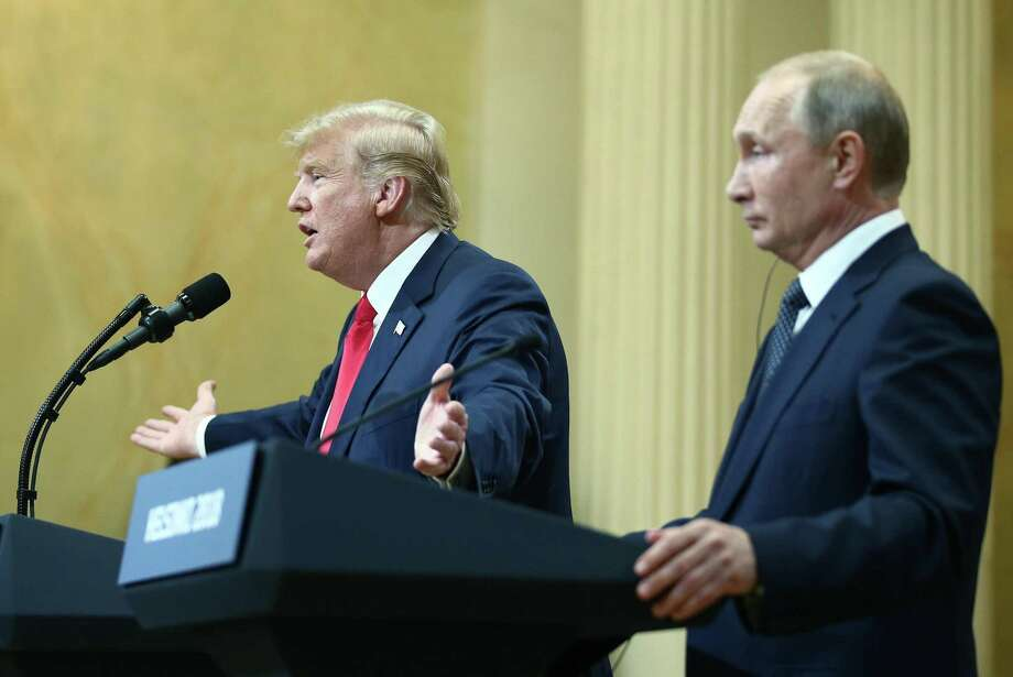 US President Donald Trump and Russia's President Vladimir Putin give a joint news conference following their meeting at the Presidential Palace. Helsinki, Finland, July 16. Trump's willingness to side with Putin over his own intelligence agencies is puzzling. Photo: Sharifulin Valery /Tass /TS / Abaca Press