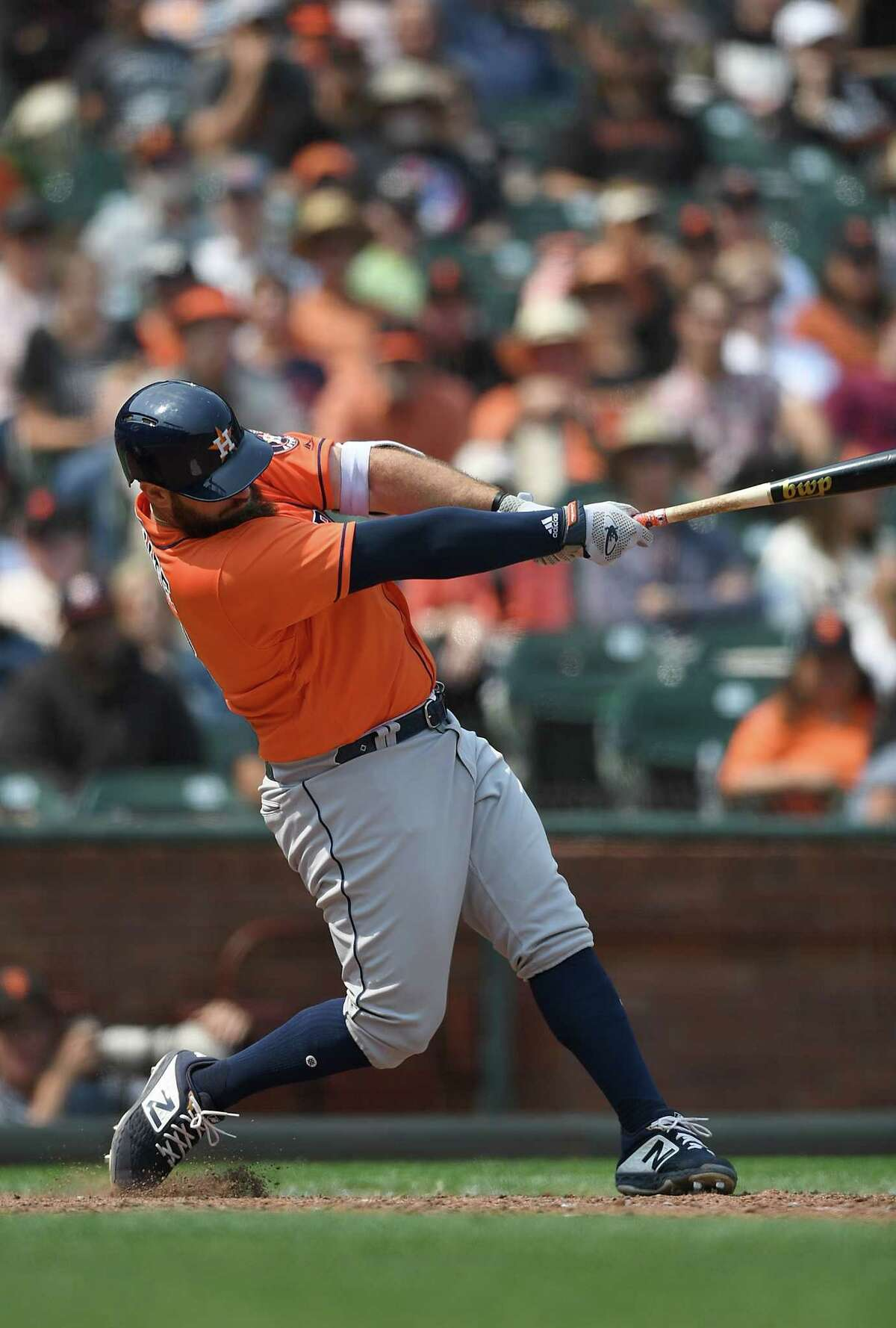 SAN FRANCISCO, CA - AUGUST 07: Tyler White #13 of the Houston Astros hits a two-run home run against the San Francisco Giants in the top of the eighth inning at AT&T Park on August 7, 2018 in San Francisco, California.